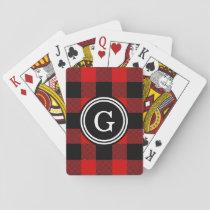 Red Black Buffalo Check Plaid 1IR Playing Cards