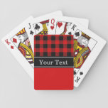 "Red Black Buffalo Check Plaid CBN Monogram Playing Cards<br><div class=""desc"">Black Buffalo Check Tartan Plaid with Color Block, Name Monogram on Black Ribbon Customize this with your name or other text. You can change the font, adjust font size and font colors, move the text to adjust letter spacing, add text fields, etc. Please note that this is a digitally created...</div>"