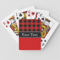 Red Black Buffalo Check Plaid CBN Monogram Playing Cards