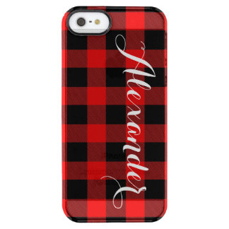 Red Black Buffalo Check Plaid Name Monogram NL Clear iPhone SE/5/5s Case