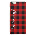 Red Black Buffalo Check Plaid Name Monogram NL Glossy iPhone 6 Plus Case