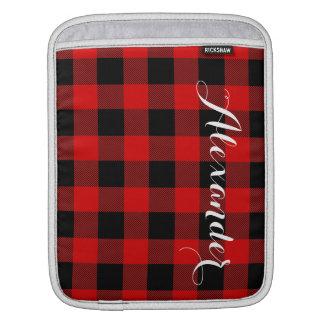 Red Black Buffalo Check Plaid Name Monogram NL iPad Sleeve