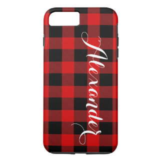 Red Black Buffalo Check Plaid Name Monogram NL iPhone 7 Plus Case
