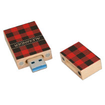 Red Black Buffalo Check Plaid Name Monogram Wood Flash Drive