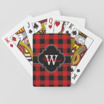 "Red Black Buffalo Check Plaid Tartan 1IQN Playing Cards<br><div class=""desc"">Black Buffalo Check Tartan Plaid Initial Name Monogram on Black Customize this with your name and initial or other text. You can also change the font, adjust font size and font colors, move the text to adjust letter spacing, add text fields, etc. Please note that this is a digitally created...</div>"