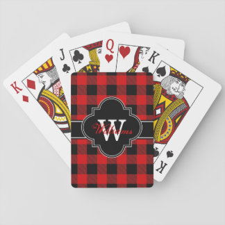 Red Black Buffalo Check Plaid Tartan 1IQN Playing Cards