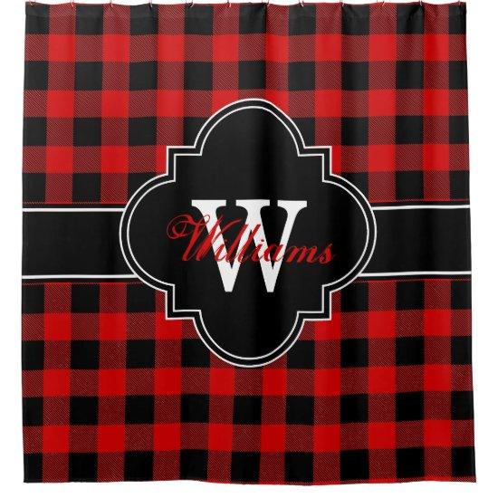Red Black Buffalo Plaid 1IRQ Monogram Shower Curtain