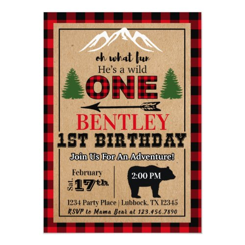 Red Black Buffalo Plaid Birthday Party Invitation
