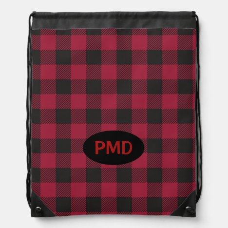 Red Black Buffalo Plaid Check Monogram Initials Drawstring Bag