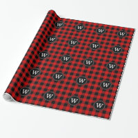 Red Black Buffalo Plaid Lumberjack 1IR Monogram Wrapping Paper