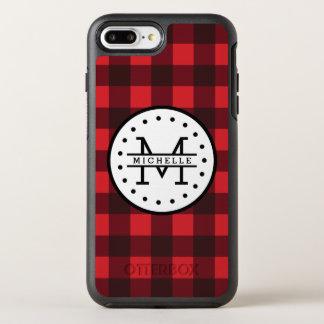 Red black Buffalo Plaid Lumberjack Name Monogram OtterBox Symmetry iPhone 7 Plus Case