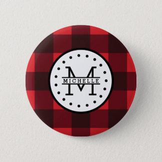 Red black Buffalo Plaid Lumberjack Name Monogram Pinback Button
