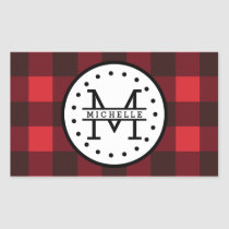 Red black Buffalo Plaid Lumberjack Name Monogram Rectangular Sticker