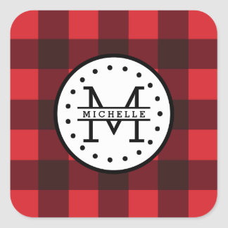 Red black Buffalo Plaid Lumberjack Name Monogram Square Sticker