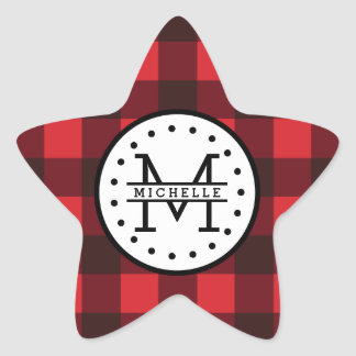 Red black Buffalo Plaid Lumberjack Name Monogram Star Sticker