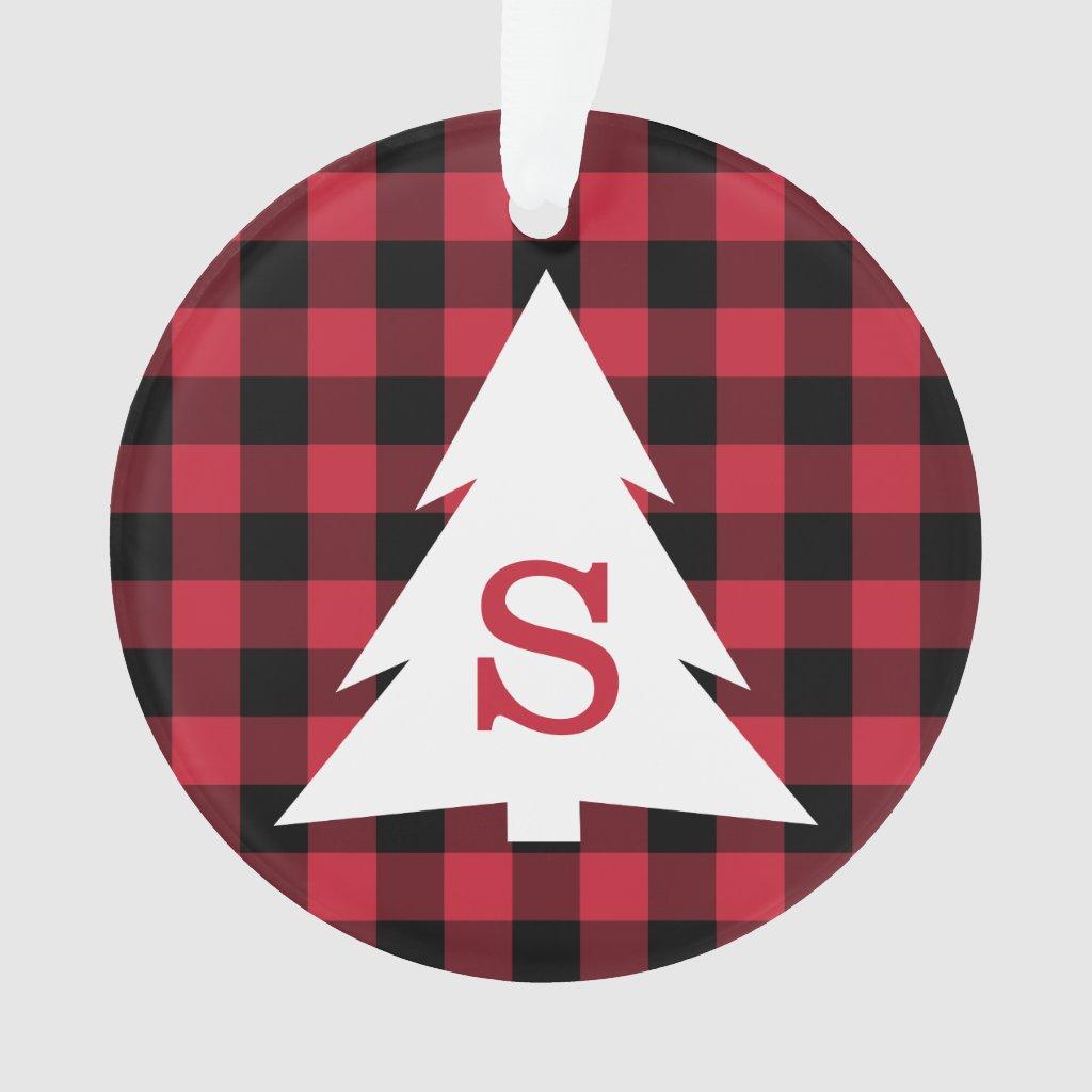 Red Black Buffalo Plaid Monogram Christmas Tree Ornament