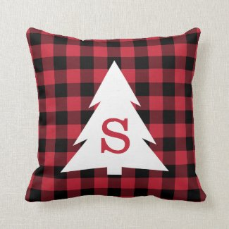 Red Black Buffalo Plaid Monogram Christmas Tree Throw Pillow
