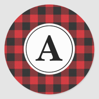 Red Black Buffalo Plaid Monogrammed Classic Round Sticker