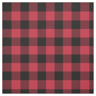 Red Black Buffalo Plaid Pattern Fabric