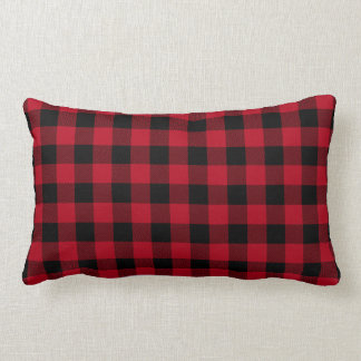 Red Black Buffalo Plaid Pattern Lumbar Pillow