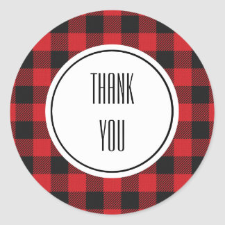 Red Black Buffalo Plaid Personalized Classic Round Sticker