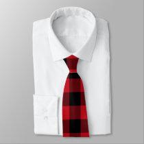 Red Black Buffalo plaid tie