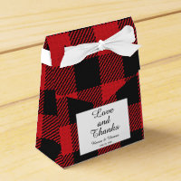 Red Black Buffalo Plaid Wedding Favor Box