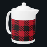 """Red Black Buffalo Square Plaid Pattern 1 Teapot<br><div class=""""desc"""">The classics never go out of fashion. With this red black buffalo square plaid pattern design, you can customize classic textures for your special events and gifts. These products are also ideal for Valentine's Day, couples, home decoration, Christmas, new year accessories, weddings, engagements, bridal showers, birthdays, baby showers, new baby...</div>"""