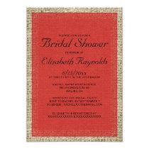 Red & Black Burlap Bridal Shower Invitations