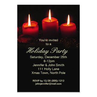 Red Black Candle Christmas Holiday Party 5x7 Paper Invitation Card