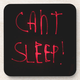 RED BLACK CANT SLEEP FRUSTRATED INSOMNIA HEALTH RE COASTER