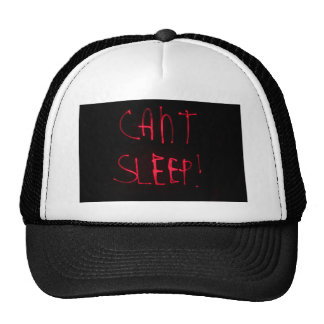 RED BLACK CANT SLEEP FRUSTRATED INSOMNIA HEALTH RE TRUCKER HAT