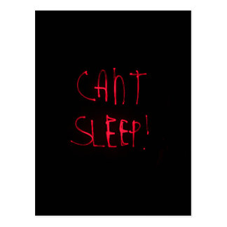 RED BLACK CANT SLEEP FRUSTRATED INSOMNIA HEALTH RE POSTCARD
