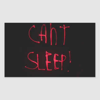 RED BLACK CANT SLEEP FRUSTRATED INSOMNIA HEALTH RE RECTANGLE STICKER