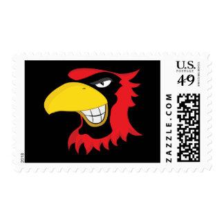 RED BLACK CARDINAL BIRD MASCOT GRAPHIC ATTITUDE STAMP