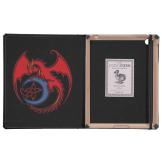 Red Black Celtic Dragon And Blue Moon Drawing Cases For iPad