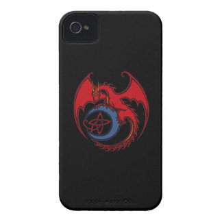 Red Black Celtic Dragon And Blue Moon Drawing Case-Mate iPhone 4 Case