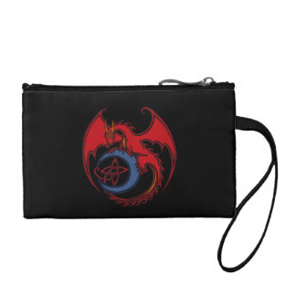 Red Black Celtic Dragon And Blue Moon Drawing Coin Wallet