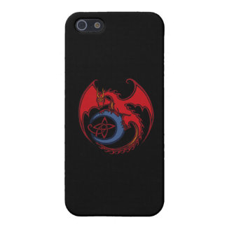 Red Black Celtic Dragon And Blue Moon Drawing Cover For iPhone SE/5/5s