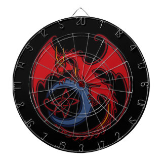 Red Black Celtic Dragon And Blue Moon Drawing Dartboards