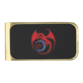Red Black Celtic Dragon And Blue Moon Drawing Gold Finish Money Clip