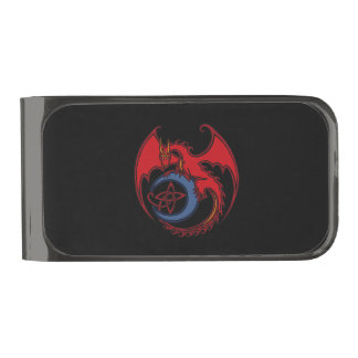 Red Black Celtic Dragon And Blue Moon Drawing Gunmetal Finish Money Clip