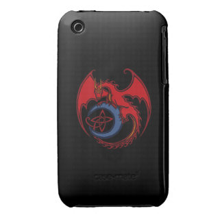 Red Black Celtic Dragon And Blue Moon Drawing iPhone 3 Cover