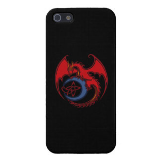 Red Black Celtic Dragon And Blue Moon Drawing iPhone SE/5/5s Case