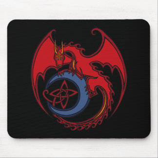 Red Black Celtic Dragon And Blue Moon Drawing Mousepads