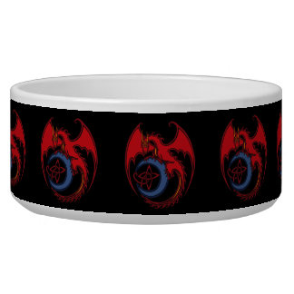 Red Black Celtic Dragon And Blue Moon Drawing Pet Food Bowl