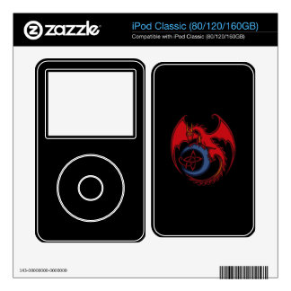 Red Black Celtic Dragon And Blue Moon Drawing Skin For iPod Classic