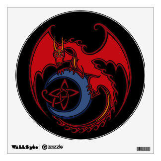 Red Black Celtic Dragon And Blue Moon Drawing Wall Sticker