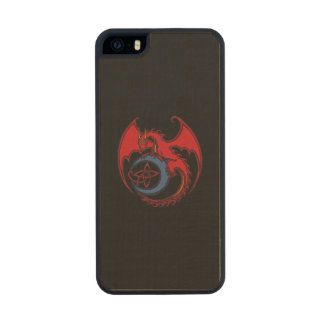 Red Black Celtic Dragon And Blue Moon Drawing Wood Phone Case For iPhone SE/5/5s
