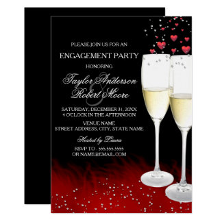 Red Black Champagne & Hearts Engagement Party Card